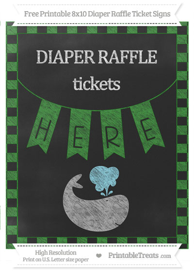 Free Forest Green Checker Pattern Chalk Style Whale 8x10 Diaper Raffle Ticket Sign