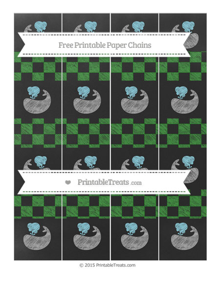 Free Forest Green Checker Pattern Chalk Style Whale Paper Chains