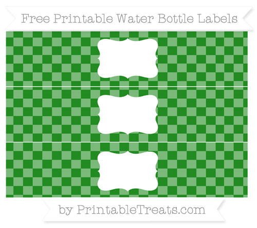 Free Forest Green Checker Pattern Water Bottle Labels