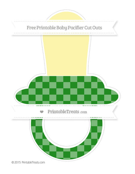 Free Forest Green Checker Pattern Extra Large Baby Pacifier Cut Outs