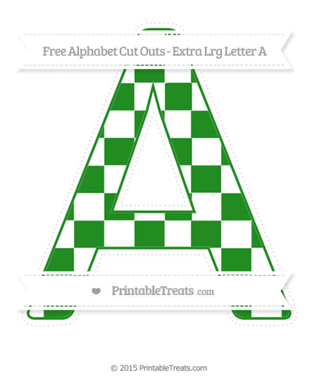 Free Forest Green Checker Pattern Extra Large Capital Letter A Cut Outs
