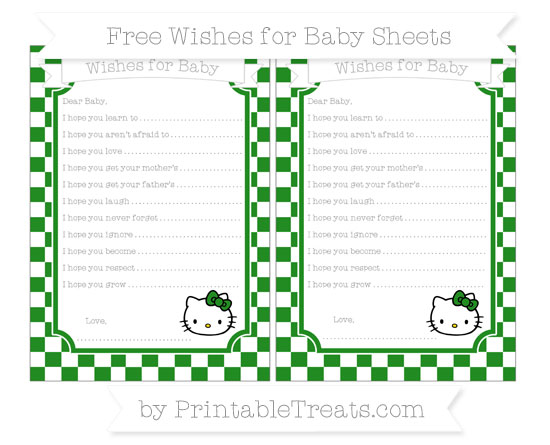 Free Forest Green Checker Pattern Hello Kitty Wishes for Baby Sheets