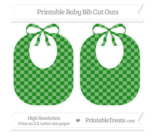 Free Forest Green Checker Pattern Large Baby Bib Cut Outs