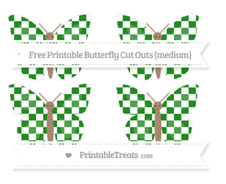 Free Forest Green Checker Pattern Medium Butterfly Cut Outs