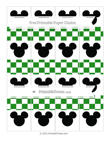 Free Forest Green Checker Pattern Mickey Mouse Paper Chains