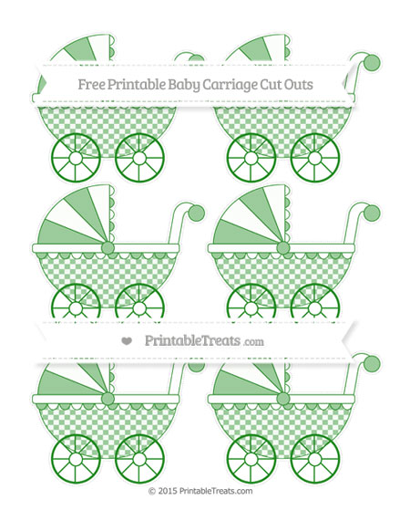 Free Forest Green Checker Pattern Small Baby Carriage Cut Outs