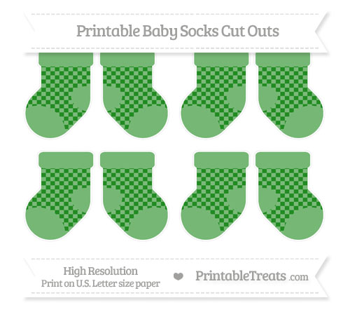 Free Forest Green Checker Pattern Small Baby Socks Cut Outs