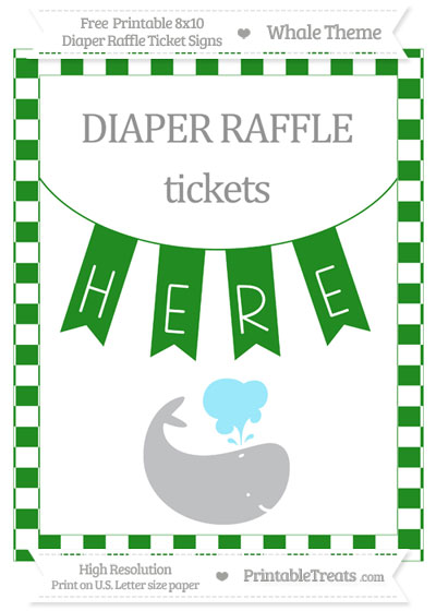 Free Forest Green Checker Pattern Whale 8x10 Diaper Raffle Ticket Sign