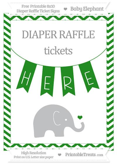 Free Forest Green Chevron Baby Elephant 8x10 Diaper Raffle Ticket Sign