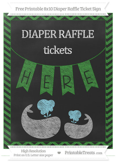 Free Forest Green Chevron Chalk Style Baby Whale 8x10 Diaper Raffle Ticket Sign
