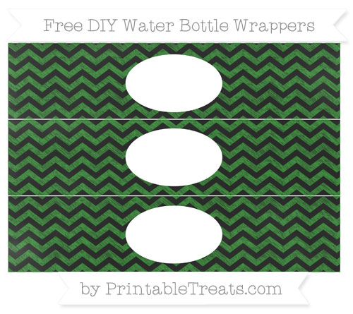 Free Forest Green Chevron Chalk Style DIY Water Bottle Wrappers