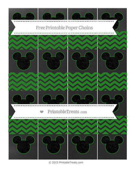 Free Forest Green Chevron Chalk Style Mickey Mouse Paper Chains