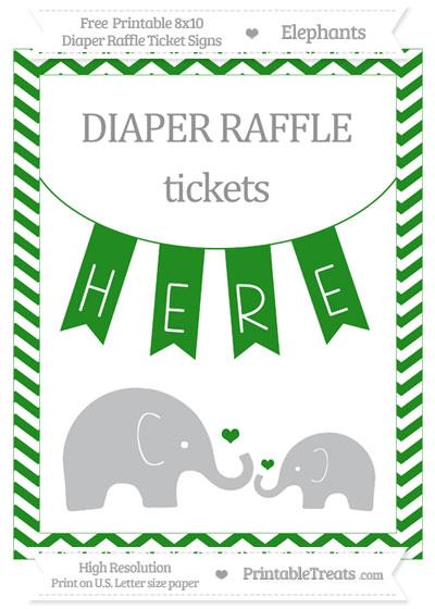 Free Forest Green Chevron Elephant 8x10 Diaper Raffle Ticket Sign