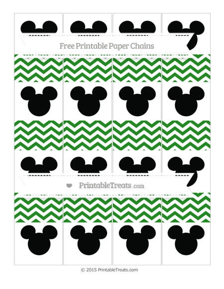 Free Forest Green Chevron Mickey Mouse Paper Chains