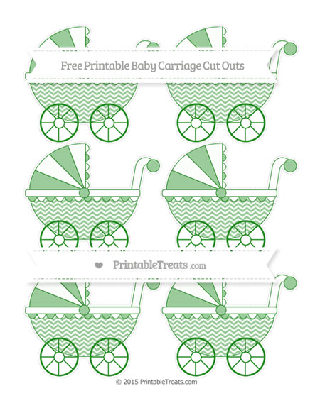 Free Forest Green Chevron Small Baby Carriage Cut Outs