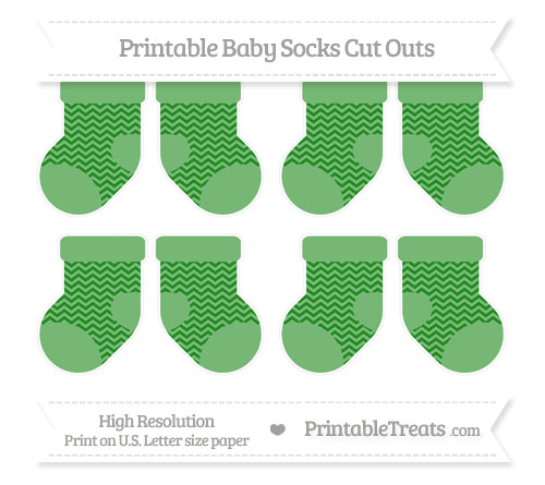 Free Forest Green Chevron Small Baby Socks Cut Outs