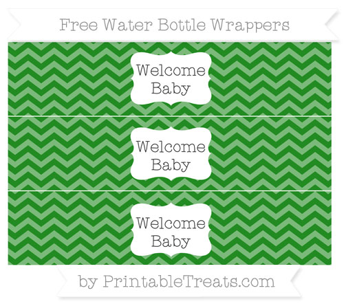 Free Forest Green Chevron Welcome Baby Water Bottle Wrappers