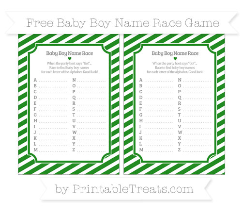 Free Forest Green Diagonal Striped Baby Boy Name Race Game