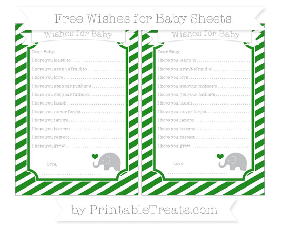 Free Forest Green Diagonal Striped Baby Elephant Wishes for Baby Sheets