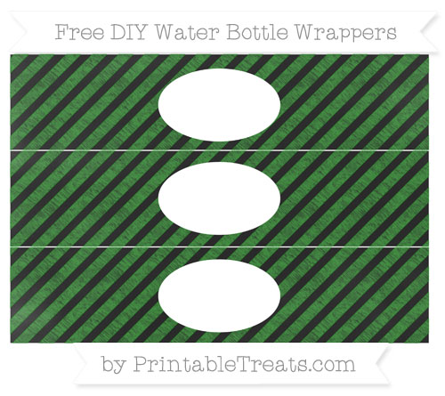 Free Forest Green Diagonal Striped Chalk Style DIY Water Bottle Wrappers