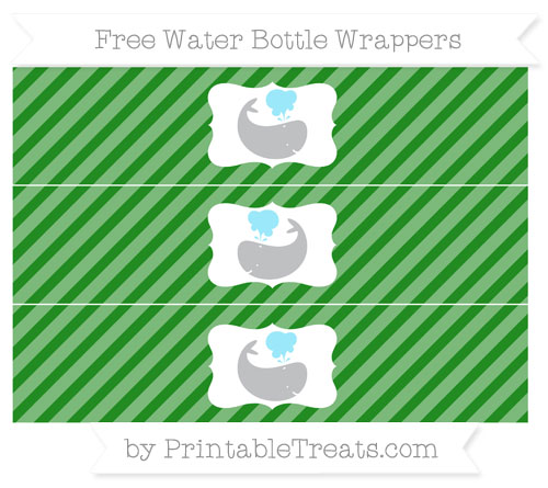 Free Forest Green Diagonal Striped Whale Water Bottle Wrappers