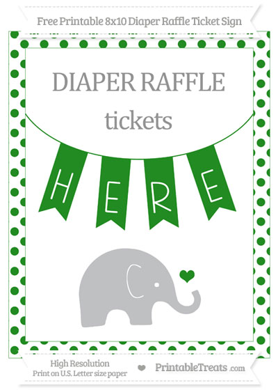 Free Forest Green Dotted Baby Elephant 8x10 Diaper Raffle Ticket Sign