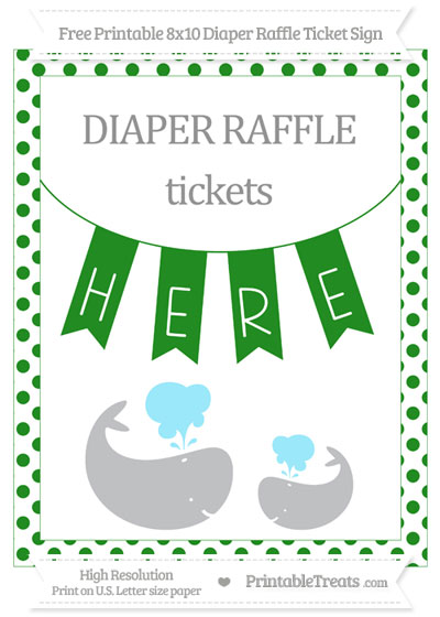 Free Forest Green Dotted Baby Whale 8x10 Diaper Raffle Ticket Sign