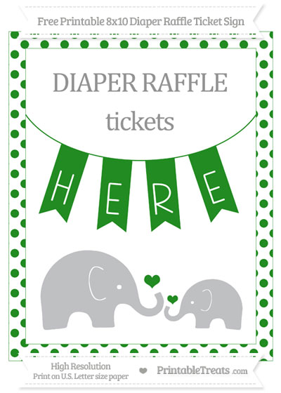 Free Forest Green Dotted Elephant 8x10 Diaper Raffle Ticket Sign