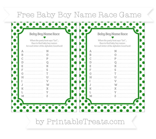 Free Forest Green Dotted Pattern Baby Boy Name Race Game