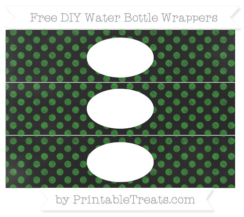 Free Forest Green Dotted Pattern Chalk Style DIY Water Bottle Wrappers