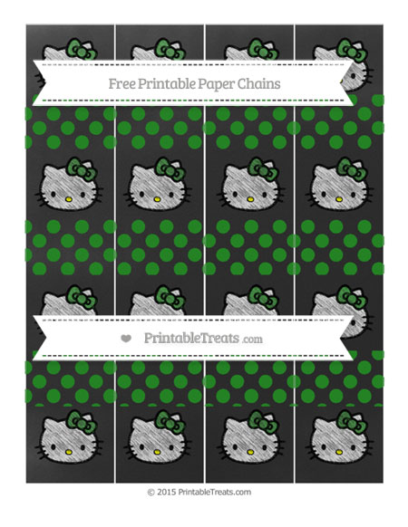 Free Forest Green Dotted Pattern Chalk Style Hello Kitty Paper Chains