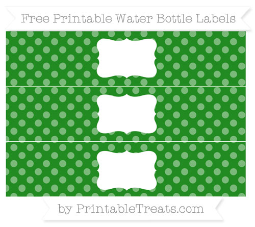 Free Forest Green Dotted Pattern Water Bottle Labels
