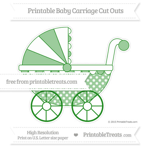 Free Forest Green Dotted Pattern Extra Large Baby Carriage Cut Outs
