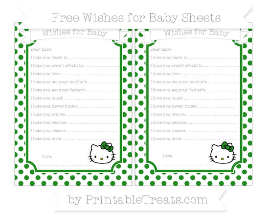 Free Forest Green Dotted Pattern Hello Kitty Wishes for Baby Sheets