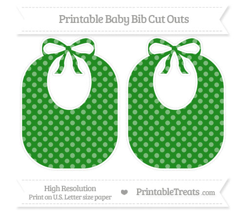 Free Forest Green Dotted Pattern Large Baby Bib Cut Outs