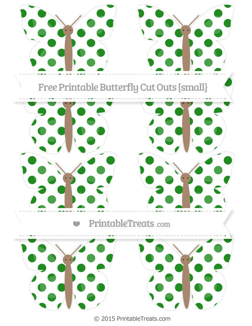 Free Forest Green Dotted Pattern Small Butterfly Cut Outs