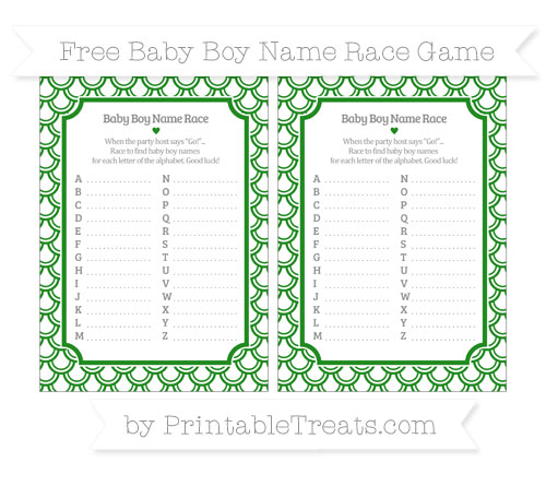 Free Forest Green Fish Scale Pattern Baby Boy Name Race Game