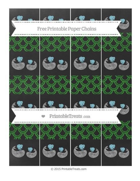Free Forest Green Fish Scale Pattern Chalk Style Baby Whale Paper Chains