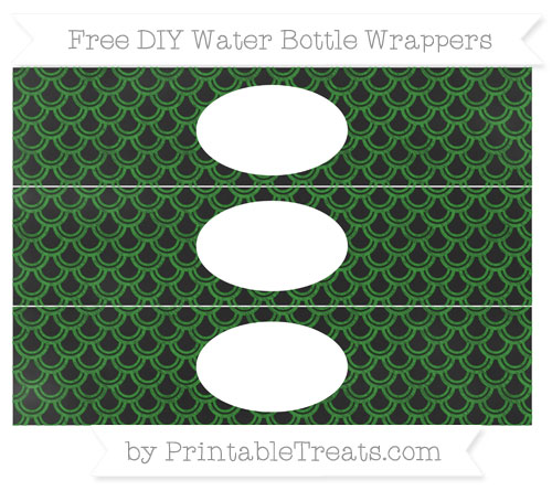 Free Forest Green Fish Scale Pattern Chalk Style DIY Water Bottle Wrappers