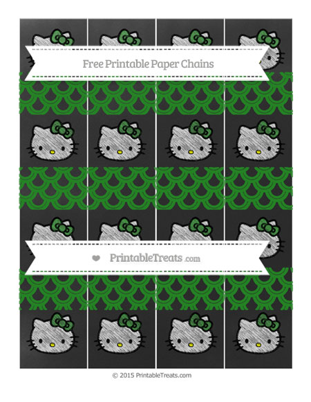 Free Forest Green Fish Scale Pattern Chalk Style Hello Kitty Paper Chains