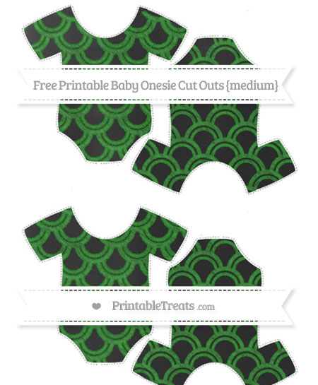 Free Forest Green Fish Scale Pattern Chalk Style Medium Baby Onesie Cut Outs