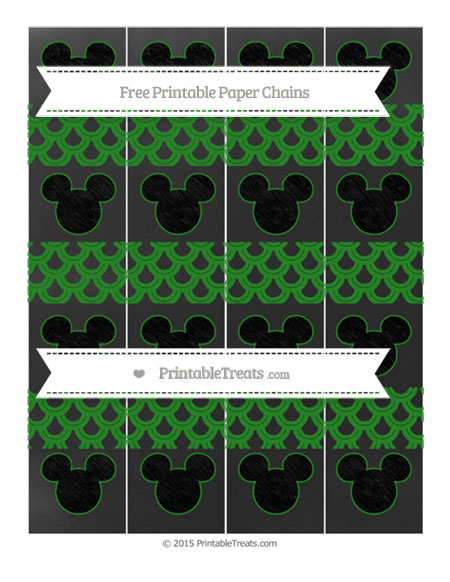 Free Forest Green Fish Scale Pattern Chalk Style Mickey Mouse Paper Chains