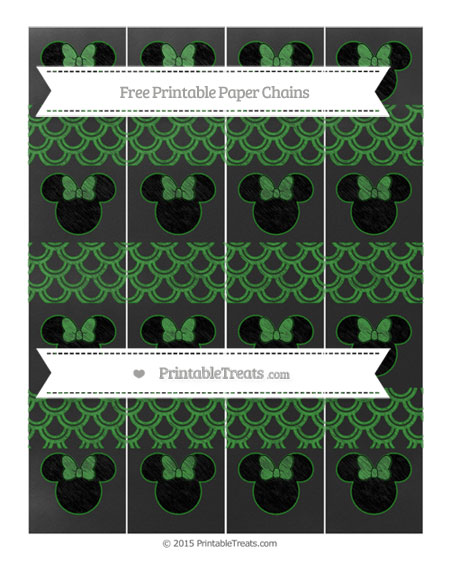 Free Forest Green Fish Scale Pattern Chalk Style Minnie Mouse Paper Chains