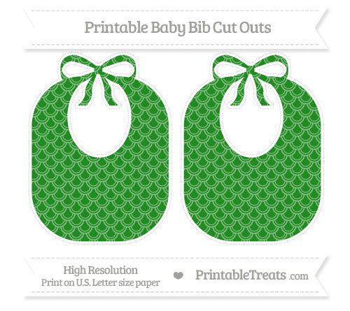 Free Forest Green Fish Scale Pattern Large Baby Bib Cut Outs