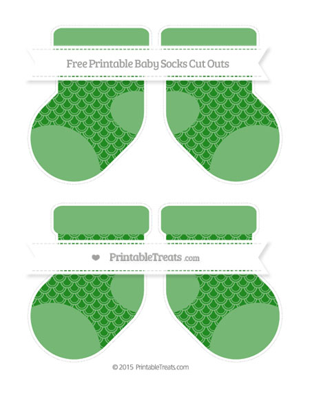 Free Forest Green Fish Scale Pattern Medium Baby Socks Cut Outs