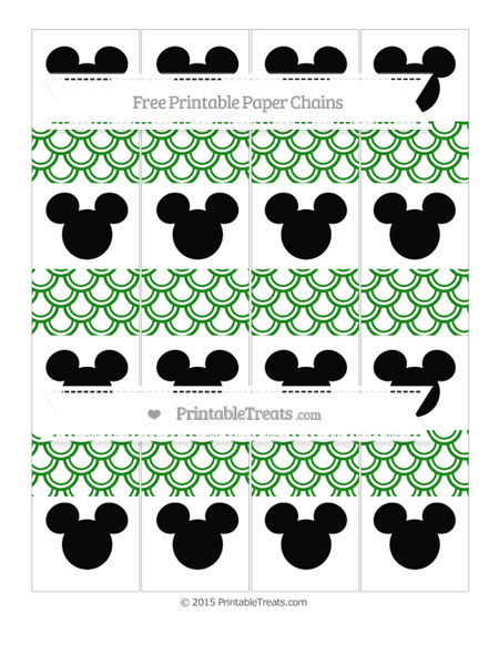 Free Forest Green Fish Scale Pattern Mickey Mouse Paper Chains