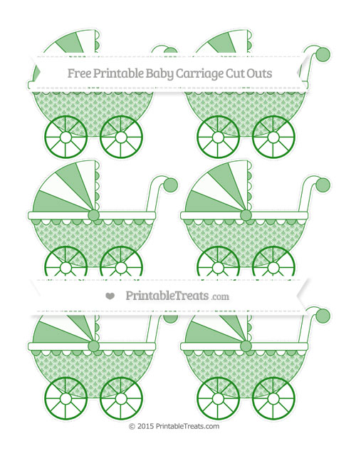 Free Forest Green Fish Scale Pattern Small Baby Carriage Cut Outs