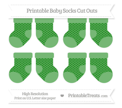 Free Forest Green Fish Scale Pattern Small Baby Socks Cut Outs