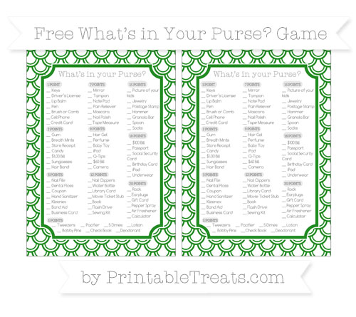 Free Forest Green Fish Scale Pattern What's in Your Purse Baby Shower Game