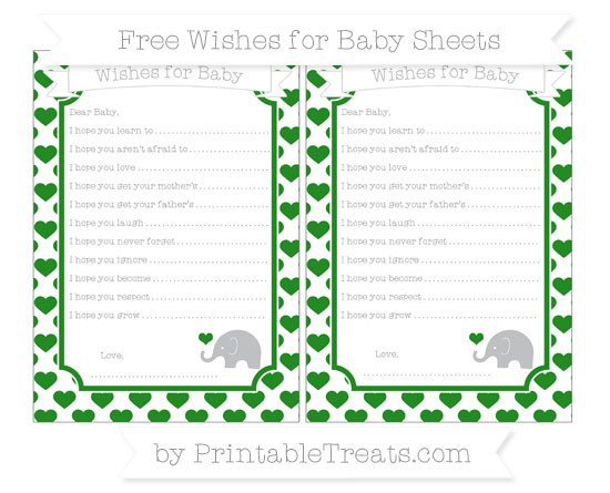 Free Forest Green Heart Pattern Baby Elephant Wishes for Baby Sheets